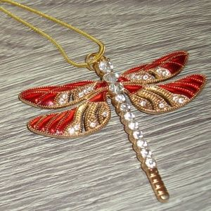 Beautiful Red and Gold Dragonfly Rhinestone Dragon